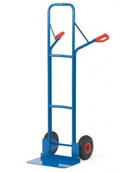 Tubular steel trolley - 300 kg - Height 1600 mm - wide blade - Solid rubber / pneumatic tires