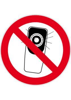 """Förbudsskylt - Ø 5-40 cm """"förbjudet att fota med mobilkamera"""""""