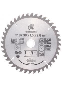 Kreissägeblatt - Hartmetall - Ø 210 mm - Bohrung Ø 30 mm - 40 Zähne