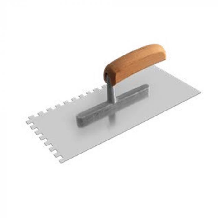 Glättekelle - rostfrei - gezahnt E4 bis E15 - 280 x 130 x 0,7 mm - mit ergonomischem Holzgriff