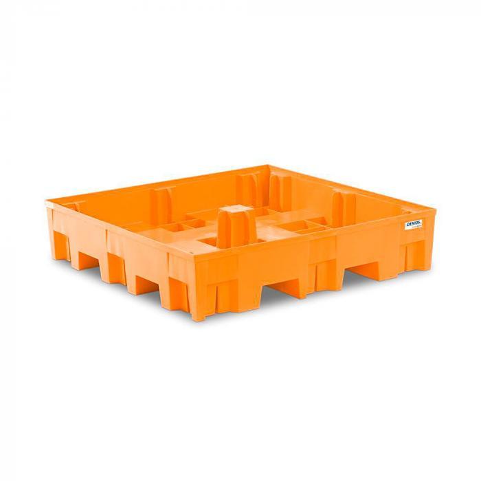 Auffangwanne base-line - Polyethylen (PE) - 1235 x 1235 x 275 mm - für 4 Fässer á 200 Liter
