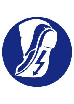 """Påbudsskylt """"använd ESD-skor"""" - Ø 5-40 cm"""