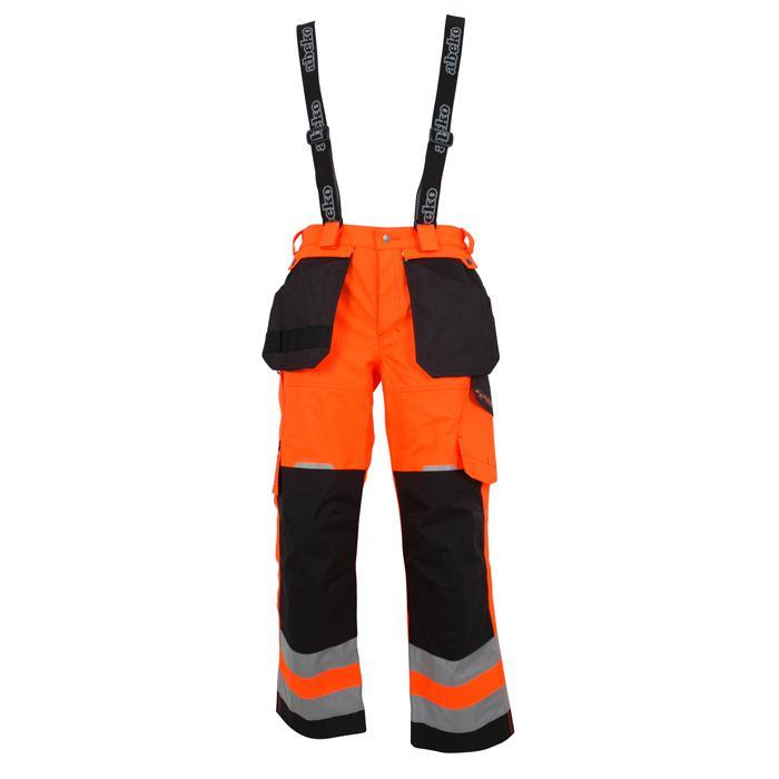 Warnschutzhose - Ocean - Atmungsaktiv - mit Hosenträgern - S bis 4XL - Orange/ Schwarz