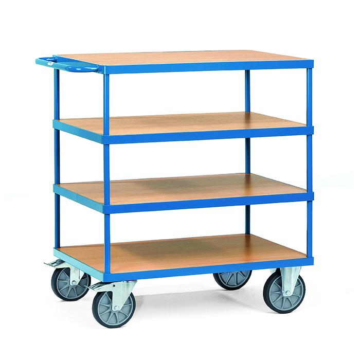 Tabella trolley - 4 ripiani in legno - fino a 600 kg
