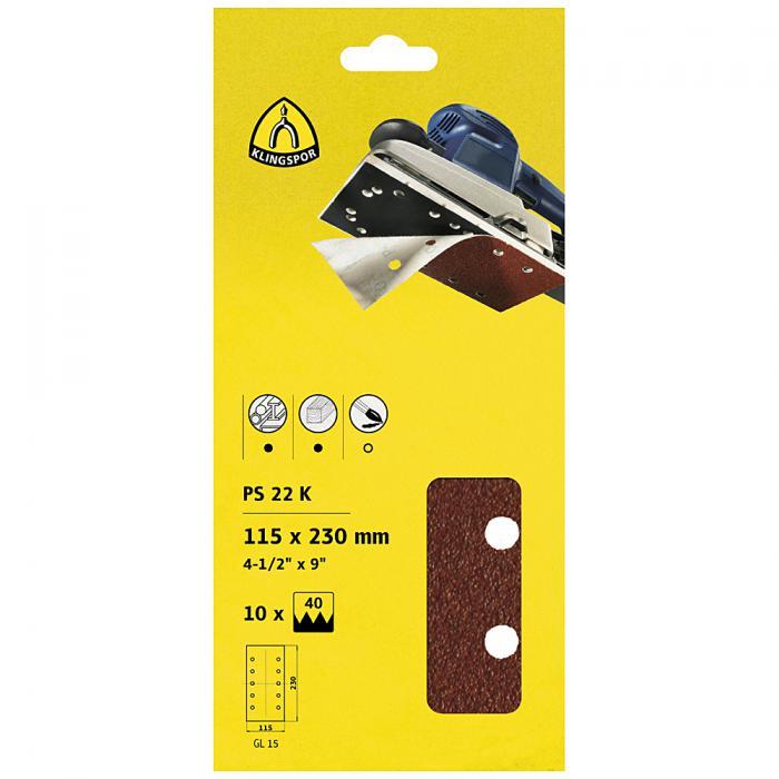 PS 22 K Schleifstreifen kletthaftend - Abmessung 115 x 230 mm - Korn 40 bis 180 - Lochform GL15 - SB-verpackt im Reiter