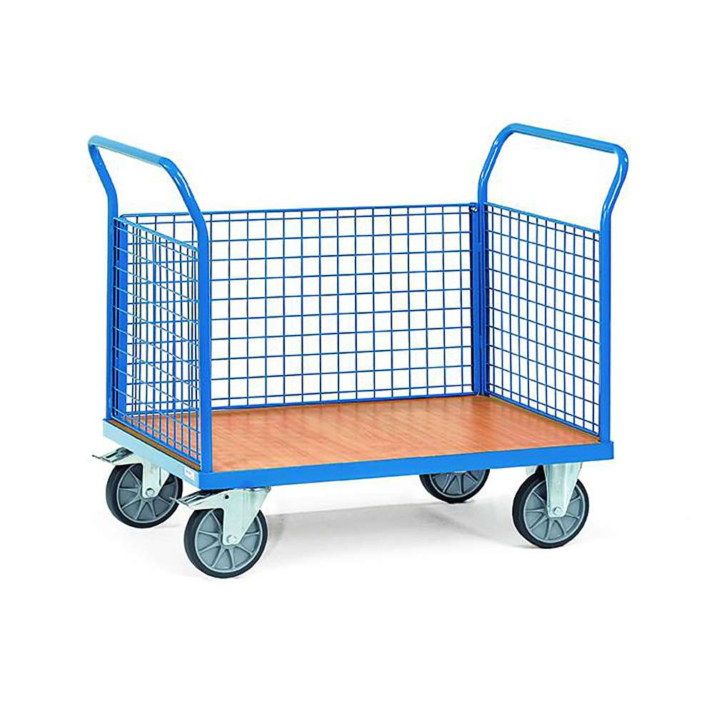 Three trolley - with 3 walls made of wire mesh