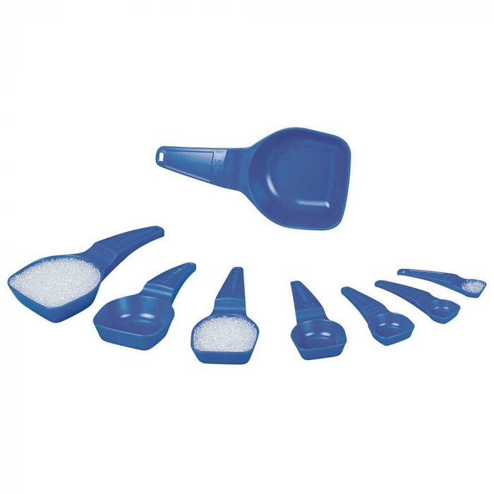 Messlöffel - PS - blau - mit Abstreifkante - für den Einmalgebrauch - Inhalt 0,5 ml bis 50 ml - Großpackung oder sterilisiert und einzeln verpackt - VE 100 Stück - Preis per VE