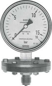 Manomètre à membrane ondulée -  classe 1.6 - Ø100mm - jusqu'à 400 mbar - acier i