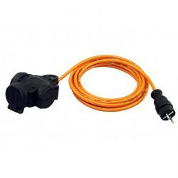 Kompaktverteiler 230V Vollgummi - 3 Wege - IP 44 - Schutzkontakt mit Kabel