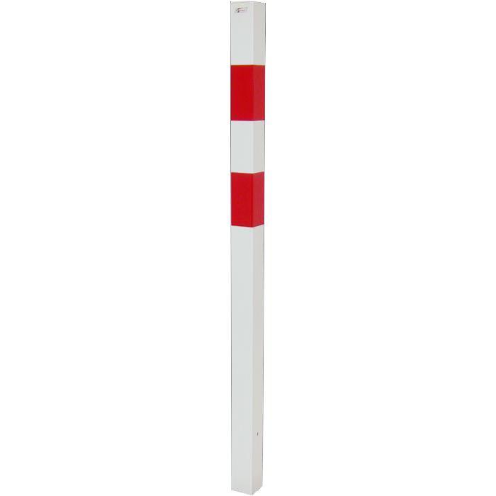 Absperrpfosten - Stahl - 1400mm - weiß/rot - zum Einbetonieren - mit/ohne Öse