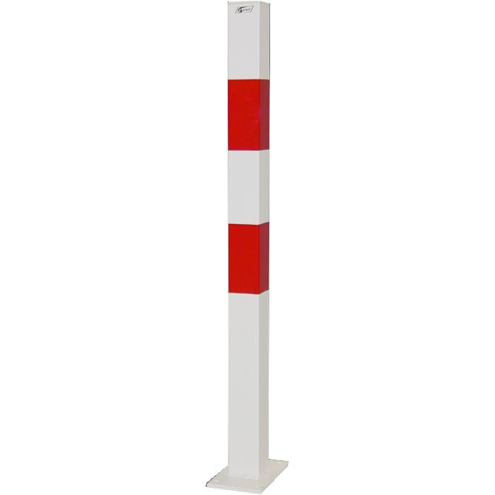 Absperrpfosten - Stahl - 1010mm - weiß/rot - zum Aufdübeln - mit/ohne Öse