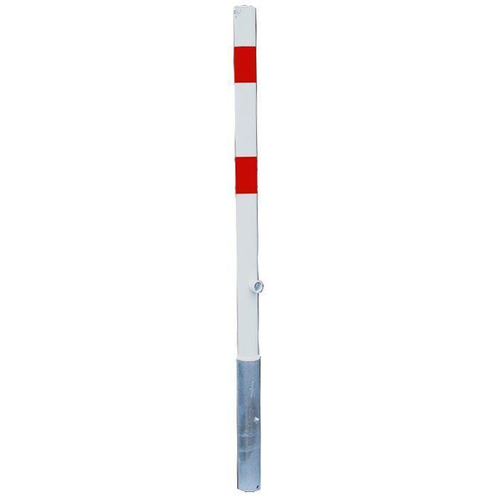 Absperrpfosten - Stahl - 1400mm - weiß/rot - zum Einbetonieren - mit/ohne Öse -