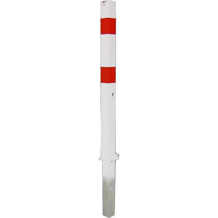 Absperrpfosten - Stahl - 1400mm - weiß/rot - zum Einbetonieren - mit Bodenhülse