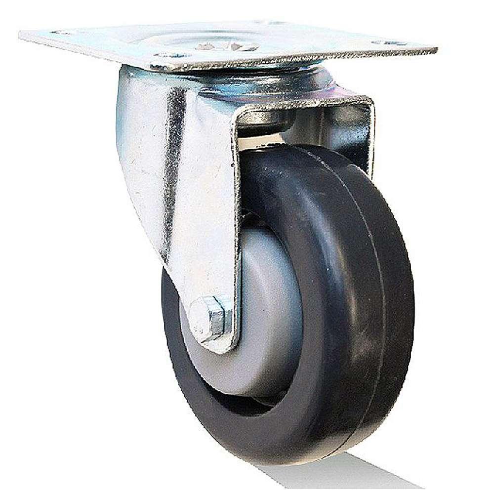 Länkhjul - fälg plast - hjulbana gummi - kullager - till 150 kg