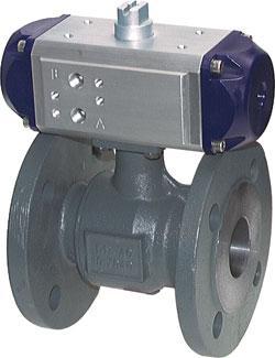 Flansch Kugelhähne mit pneumatischem Antrieb, 2 teilig , PN 16
