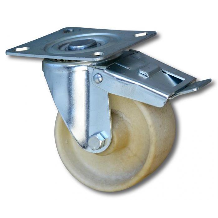Lenkrolle mit Doppelstopp - bis 300 °C - Rad-Ø 80 bis 100 mm - Bauhöhe 104 bis 128 mm - Tragkraft 90 bis 110 kg