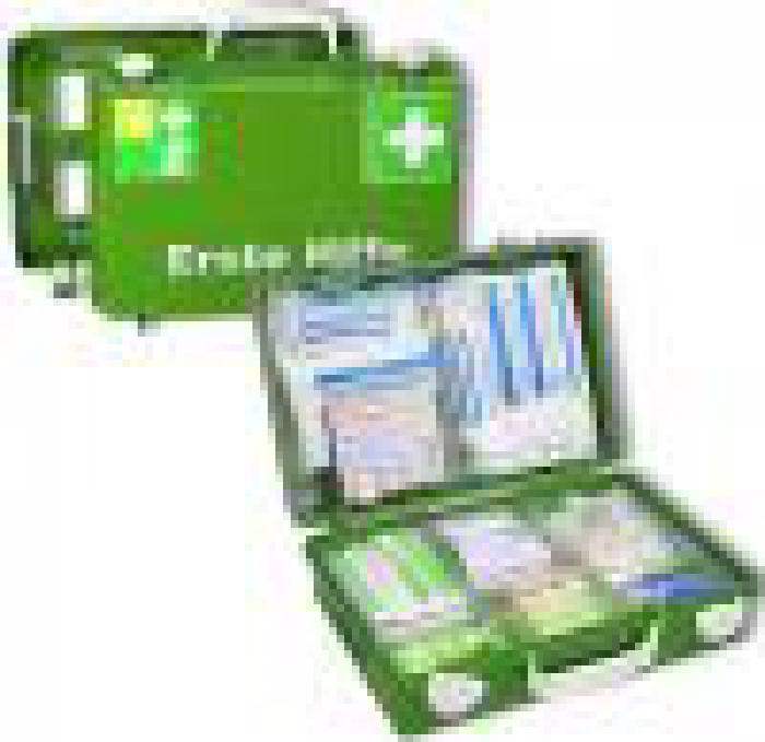 """Kit """"Førstehjælp SN-CD"""" - fyldt - DIN EN 1789 - Plastic"""