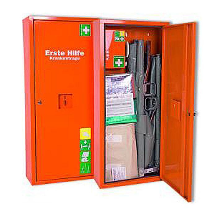 Anbausafe - mit Erste-Hilfe-Trage - gefüllt gemäß DIN 13 157