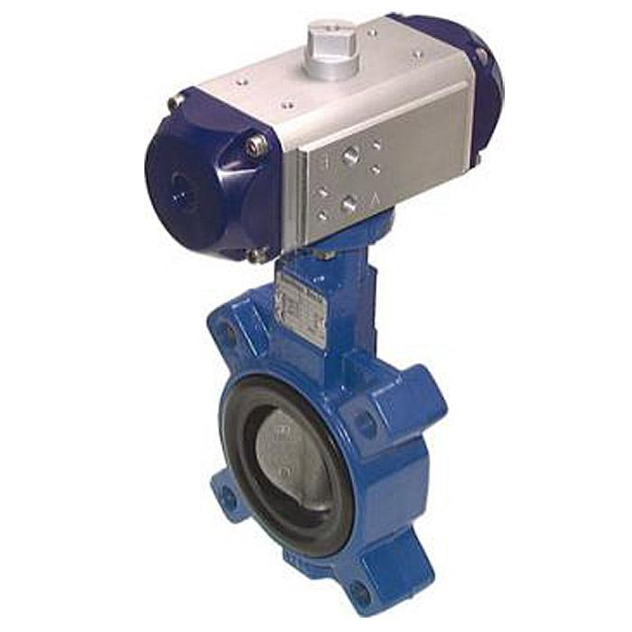Pneumatic Driven Butterfly Valves - Spring Closing - Flange On - Grey Cast Iron