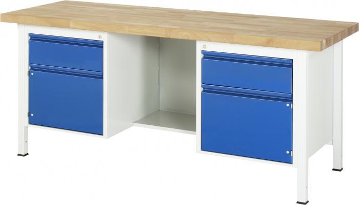 arbetsb nk upp till 1000 kg massiv bok 40 mm 2 l dor 2 d rrar. Black Bedroom Furniture Sets. Home Design Ideas