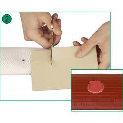 """plaque de Flick """"10 x 15 cm"""" - rouge et blanc - réparation des tubes de pression"""