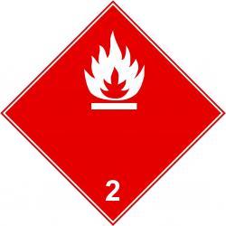"""Farligt gods skylt - """"brandfarliga vätskor"""" - klass 2"""