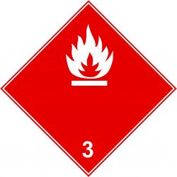 """Farligt gods skylt - """"brandfarliga vätskor"""" - klass 3"""