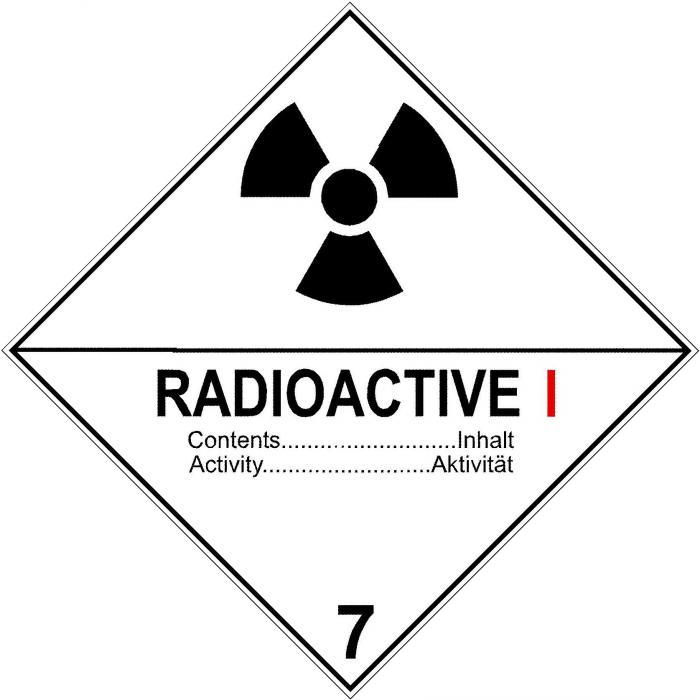 """Gefahrgutzeichen """"Radioaktive Stoffe I"""""""