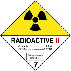 """Farligt gods skylt - """"radioaktiva ämnen II"""""""
