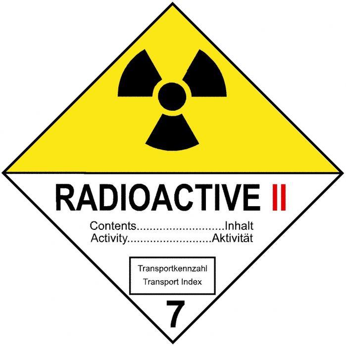 """Gefahrgutzeichen """"Radioaktive Stoffe II"""""""