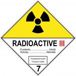 """Varningsskylt """"Radioaktiva ämnen III"""" - 5-40 cm sidlängd"""