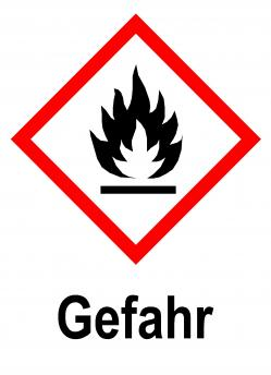 """GHS skylt - """"Brandfarligt material"""" - varningsord """"FARA"""""""