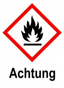 """GHS skylt """"Brandfarligt material"""" - varningsord """"Varning"""""""