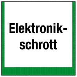 """Miljömärkning """"behållare för elektroniskt avfall"""" - 5 till 40 cm"""