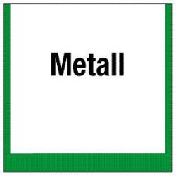 """Miljömärkning """"Samlingsbehållare för metall"""" - 5 till 40 cm\n"""