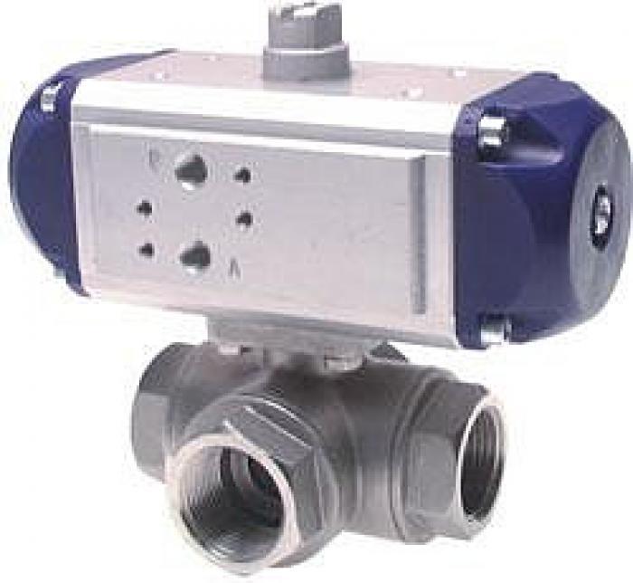 3-Wege Kugelhahn MS - L-Bohrung - PN 40 - mit pneumatischen doppeltwirkenden Drehantrieb