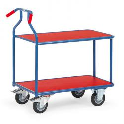 Optiliner table trolley blue / red - ergonomic grip position - 400 kg - 2 shelves