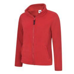 Restposten - Damen Classic Fleece Jacke - mit Reißverschluss - 100% Polyester - 380 g/m² - rot - Größe M