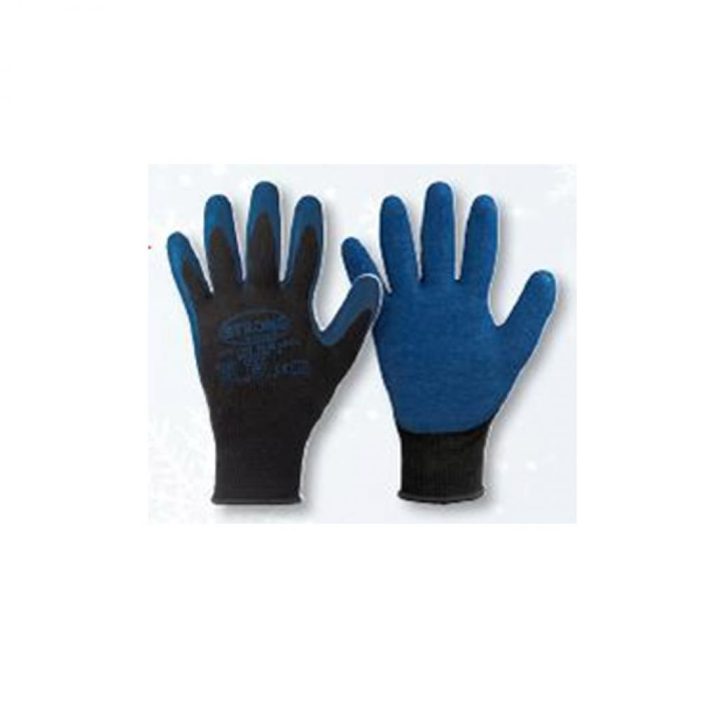 "Work Glove ""Blue Latex"" - stronghand® - means Trick 100% polyester - EN 388, EN 511 - black / blue"