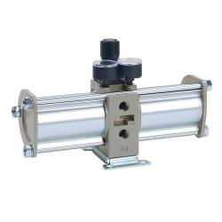 "Druckverstärker - Serie VBA - Typ VBA20A-F03GN - G 3/8"" - Manometer und Schalldämpfer"