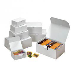 Kartonger - vikbara med lock - 20 stycken - olika storlekar - vita
