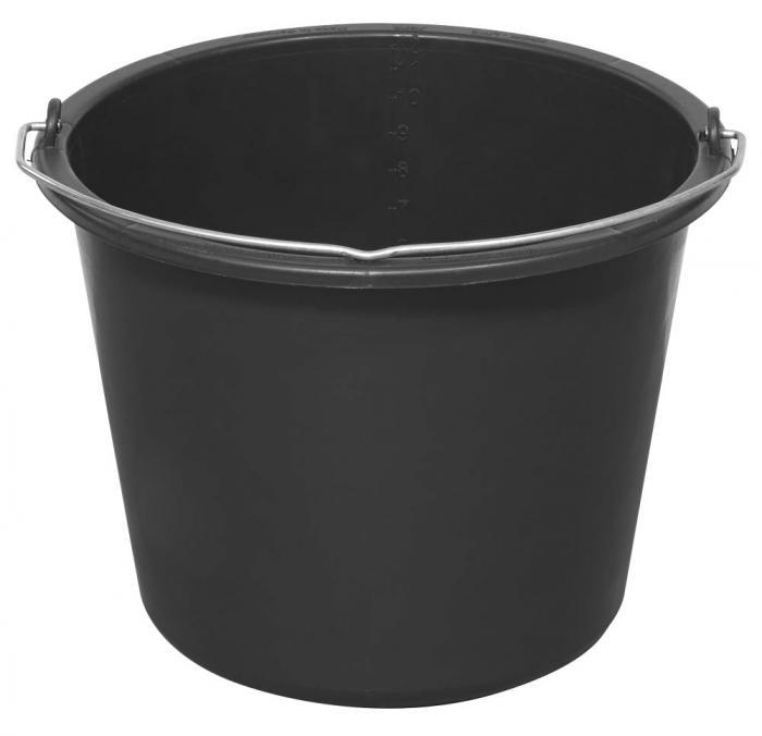 Baueimer - mit Literskala - mit Stahlbügel - Volumen 12 bzw. 20 l - Material Polyethylen-Regeneratgemisch