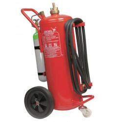 Extinguishers - mobile - 10/25/50/60/100 kg - continuous pressure / charging with external CO2 / N2 bottle - powder - 5, 6 or 10 m hose