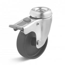 Edelstahl Apparate-Lenkrolle mit Doppelstopp und Rückenloch und Polyamidrad