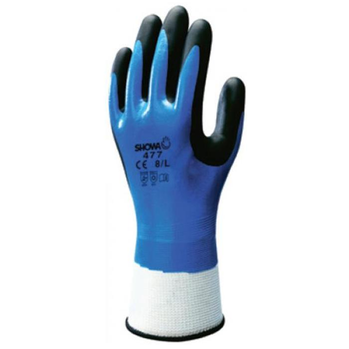 Skyddshandskar - nitrilbeläggning - blå/svart