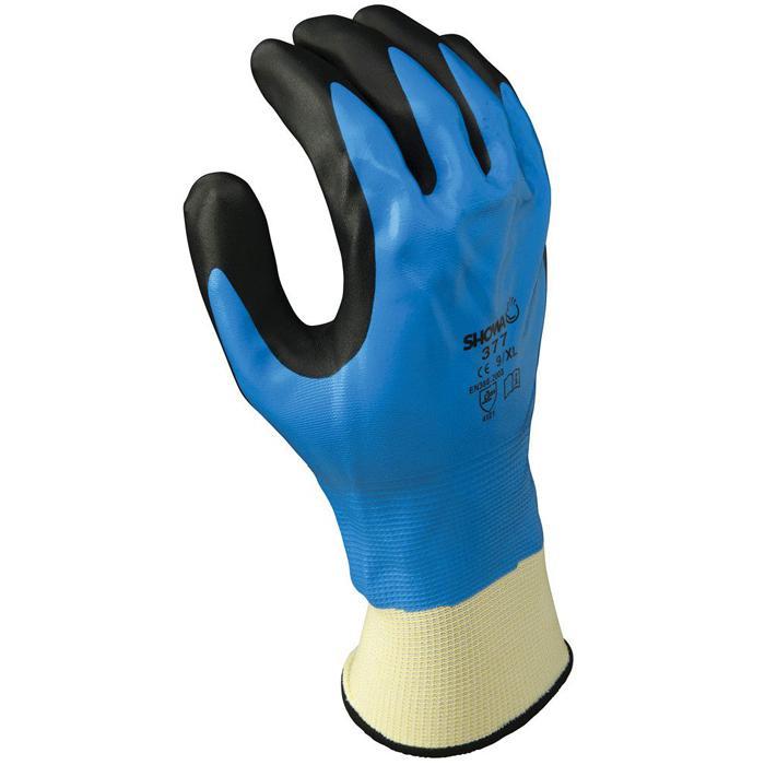 """Schutzhandschuh """"Showa 377"""" - weiß/blau/schwarz - Nitrilbeschichtung"""
