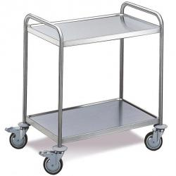 Stainless steel trolley with 2 shelves - Load capacity 100 kg