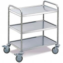 Stainless steel trolley with 3 floors - carrying capacity 100 kg