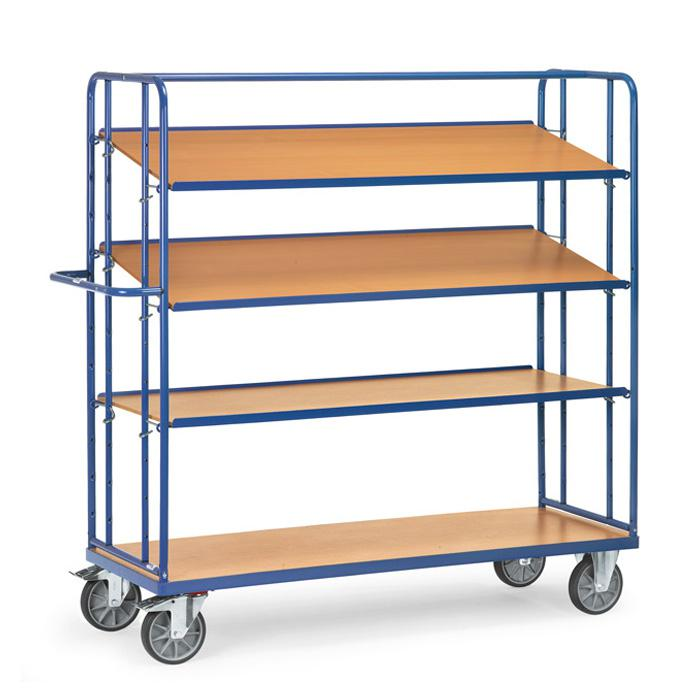 Shelved trolley - with 3 loose soils of wood - height 1800 mm