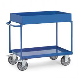 Table trolley - with 2 shelves from metal trays - upper floor 150 mm edge - handle horizontally